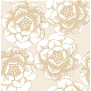 A-Street Prints Gold Floral Non-Woven Paste The Wall Fanciful Floral Wallpaper
