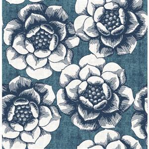 Papier peint florale fantaisiste, bleu