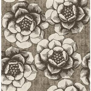 Papier peint florale fantaisiste, brun