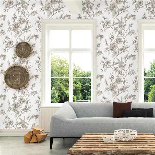 A-Street Prints Jessamine Taupe Floral Trail Unpasted Wallpaper