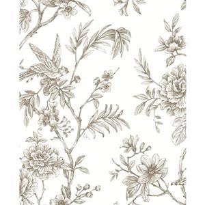Papier peint florale Jessamine, taupe