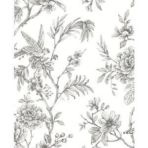 Papier peint florale Jessamine, gris