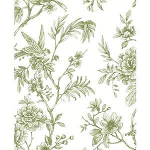 Papier peint florale Jessamine, vert