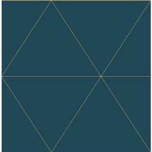 Papier peint géométrique crepuscule, bleu sarcelle