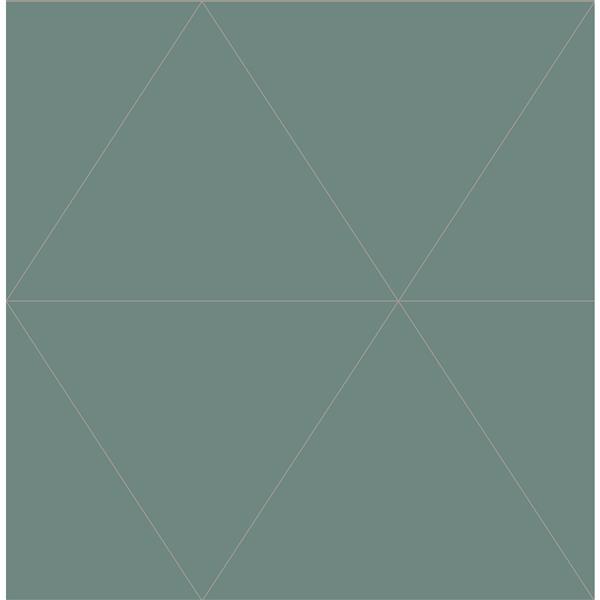 Papier peint géométrique crepuscule, vert