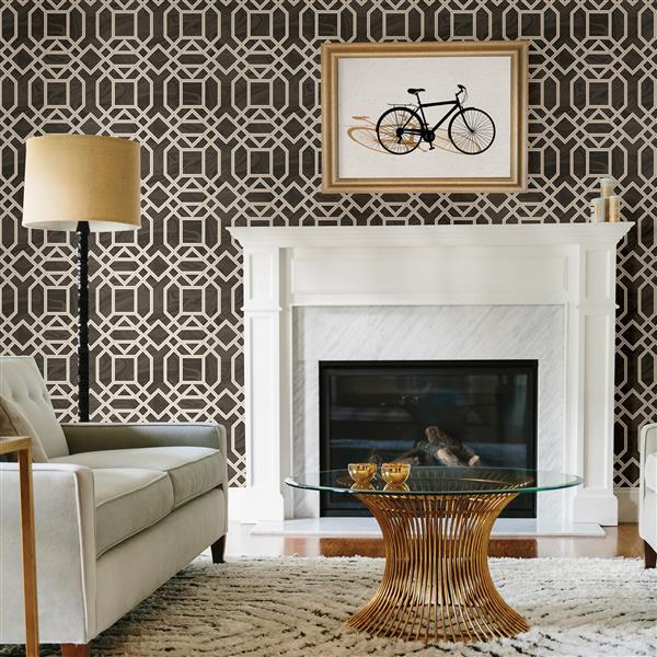 A-Street Prints Brown/Brown Daphne Trellis Wallpaper