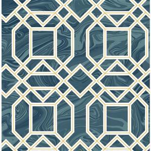 Papier peint trellis Daphne, blue