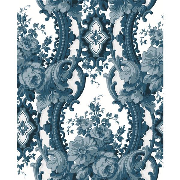 Papier peint damassé rêveur, bleu