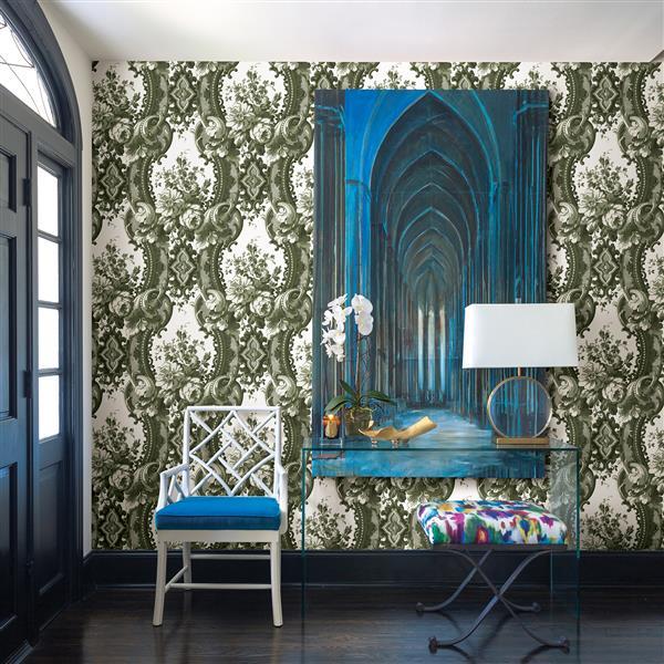 A-Street Prints Green Damask Non-Woven Paste The Wall Dreamer Wallpaper