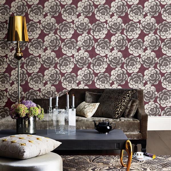 Papier peint florale fantaisie, prune
