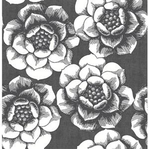 A-Street Prints Black Floral Non-Woven Paste The Wall Fanciful Floral Wallpaper