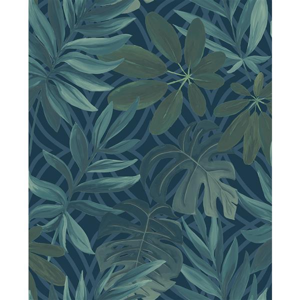 Papier peint nocturne feuille, bleu