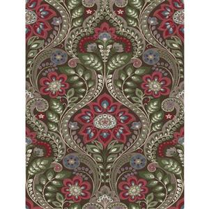 A-Street Prints Chocolate Night Bloom Damask Prepasted Non-Woven Unpasted Wallpaper