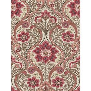 A-Street Prints Coral Night Bloom Damask Prepasted Non-Woven Unpasted Wallpaper