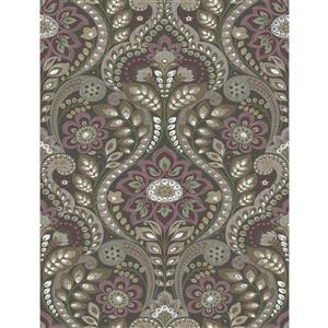 A-Street Prints Charcoal Night Bloom Damask Prepasted Non-Woven Unpasted Wallpaper