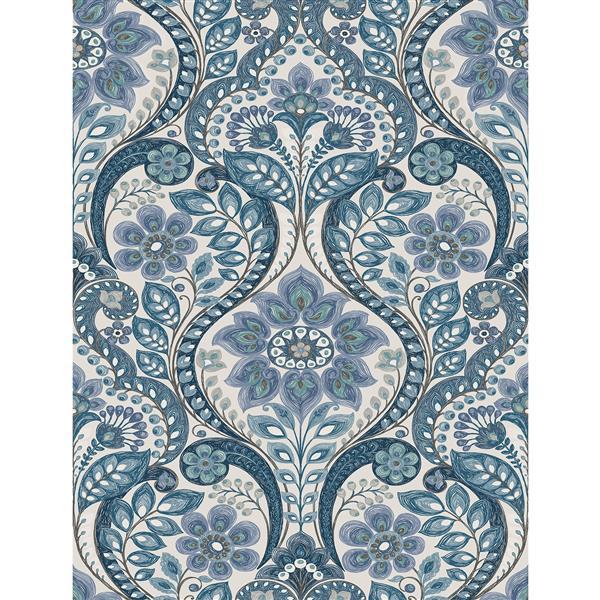 Papier peint damassé nocturne, bleu
