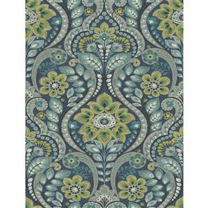 A-Street Prints Navy Night Bloom Damask Prepasted Non-Woven Unpasted Wallpaper
