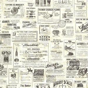 Chesapeake 57 sq-ft Cream Adamstown Vintage Newspaper Wallpaper