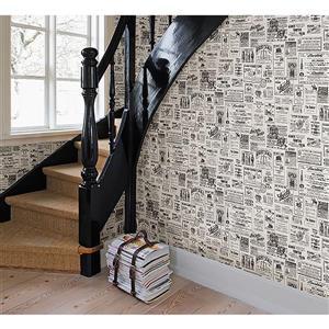 Papier peint ancien journal Adamstown, crème