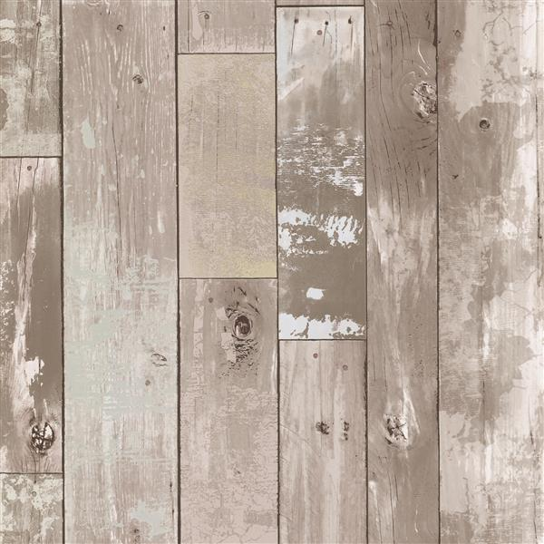 Papier peint en bois vielli Heim, taupe