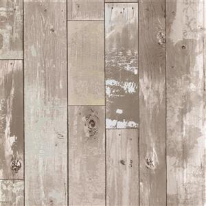 Brewster Wallcovering Heim Taupe Distressed Wood Panel Unpasted Wallpaper