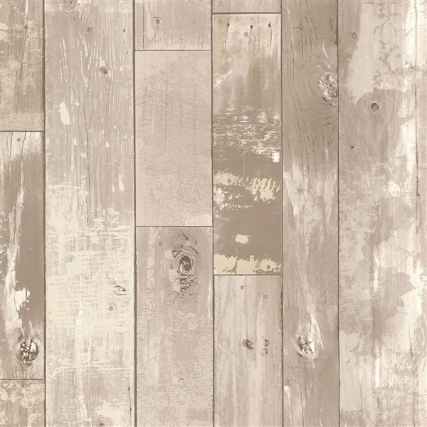 Papier peint en panneaux de bois vieilli Heim, gris