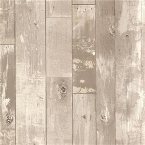 Brewster Wallcovering Heim Grey Distressed Wood Panel Unpasted Wallpaper