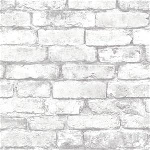 Brewster Wallcovering Brickwork Light Grey Exposed Brick Paste The Wall Wallpaper