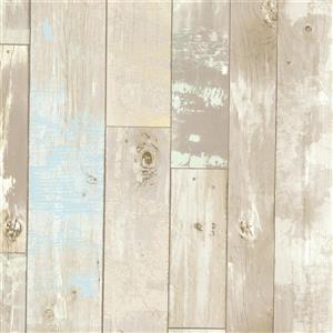 Brewster Wallcovering Neutral/Brown Dean Distressed Wood Panel Wallpaper
