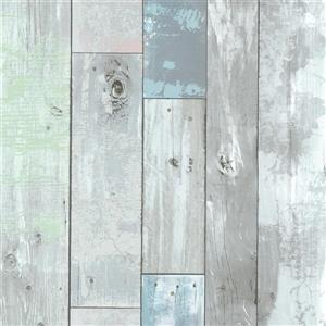 Brewster Wallcovering Blue/Blue Dean Distressed Wood Panel Wallpaper