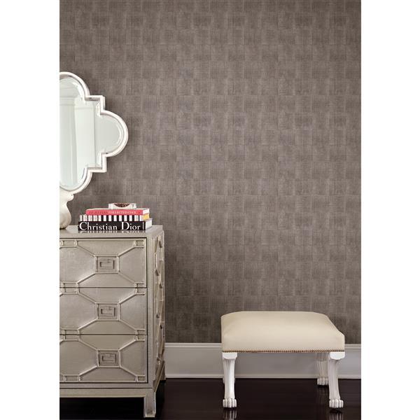 Brewster Wallcovering Platinum/Grey Larue Block Wallpaper