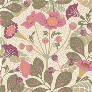 Papier peint à fleurs Tropisk, rose