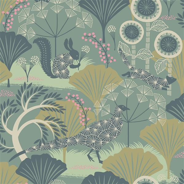 Brewster Wallcovering Skog Forest Green 57.8sq-ft Unpasted Wallpaper