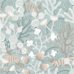 Papier peint Korall, bleu sarcelle