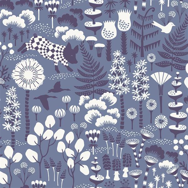 Papier peint Hoppet folklorique, bleu