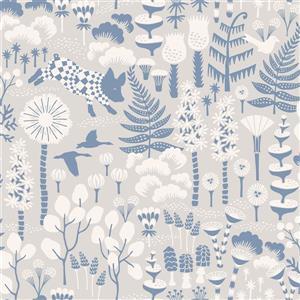 Papier peint Hoppet folklorique, gris