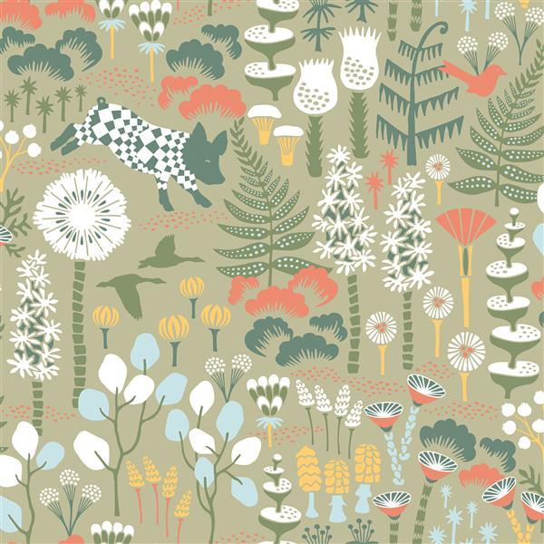 Brewster Wallcovering Hoppet Green Folk Unpasted Wallpaper