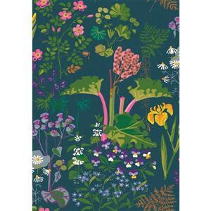 Papier peint à fleurs Rabarber, charbon