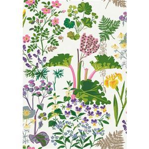 Papier peint à fleurs Rabarber, taupe