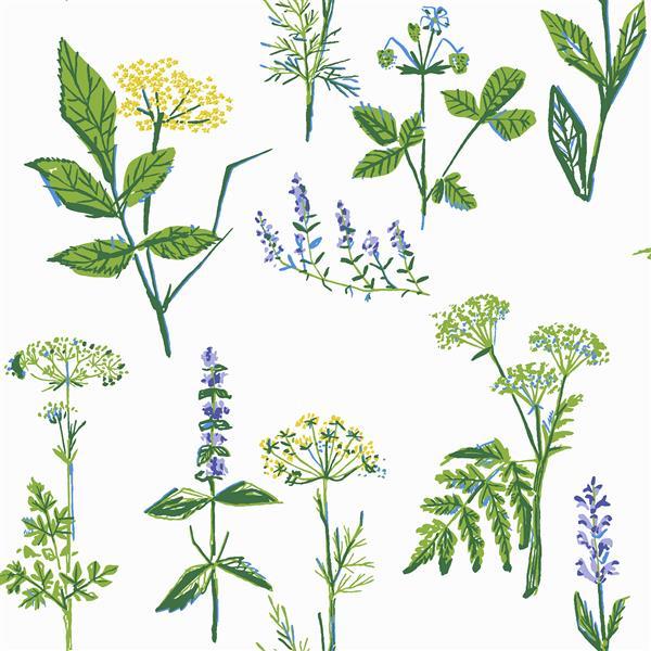Papier peint à fleurs Köksväxter, vert