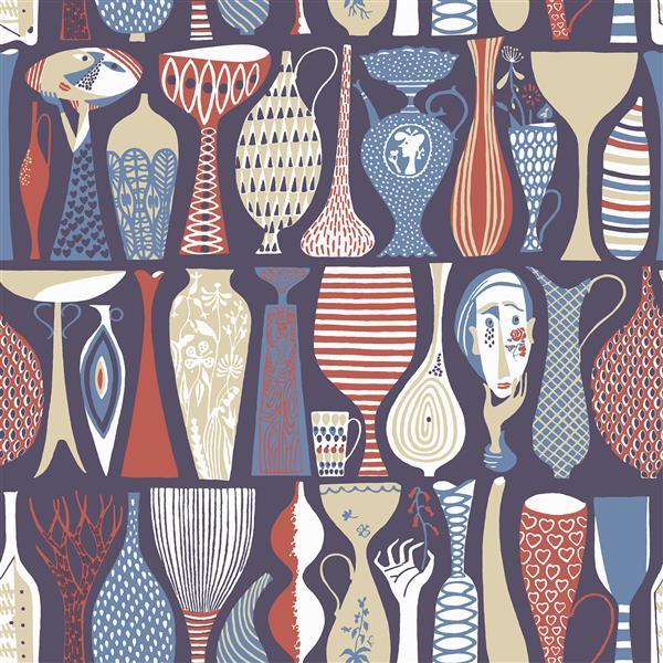 Papier peint poterie folklorique, rouge