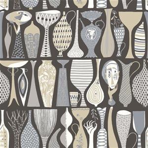 Papier peint poterie, folklorique, noir