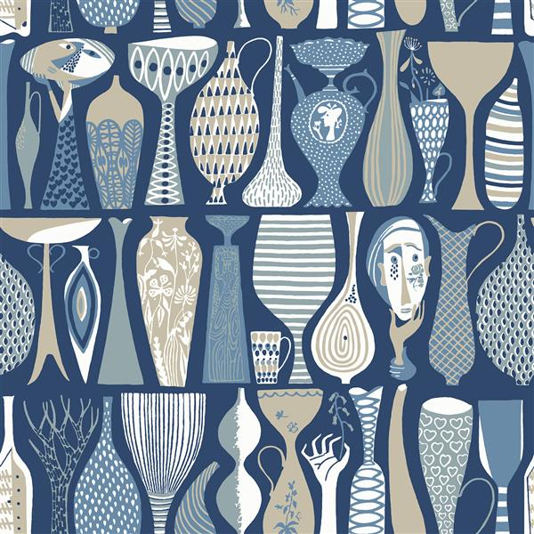 Papier peint poterie folklorique, bleu