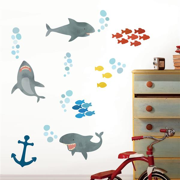 Trousse d'art mural d'attaque de requin, WallPops