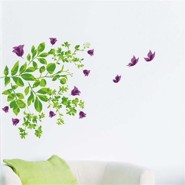 Trousse d'appliqué mural WallPops, feuilles et papillons