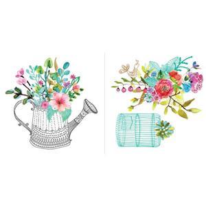 Trousse d'appliqué mural WallPops, fleurs romantiques