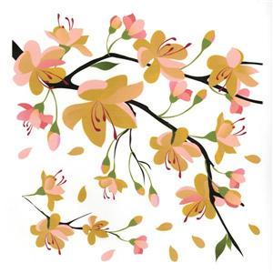 Trousse d'appliqué mural WallPops, branche jaune