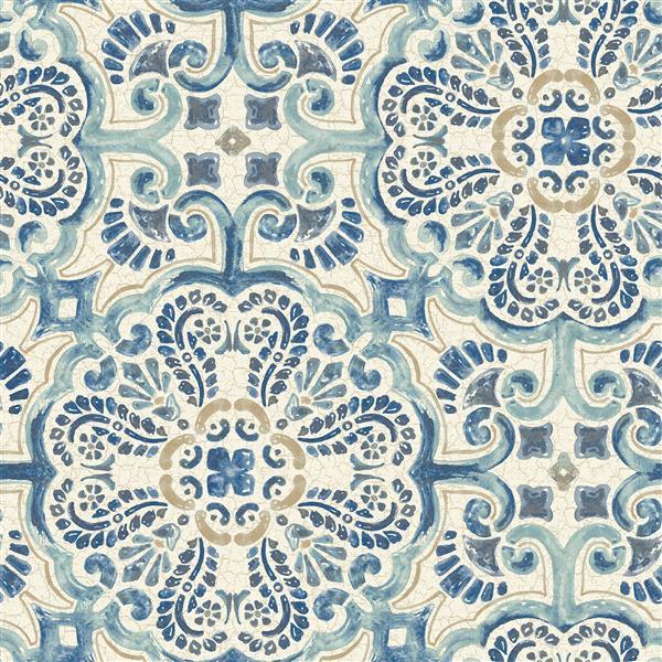 NuWallpaper Florentine Tile Wallpaper - Blue