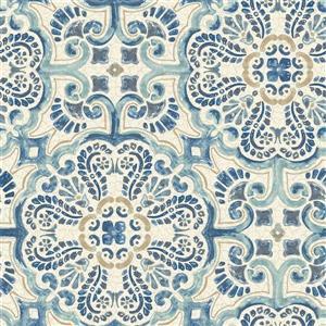 Papier peint tuile Florentine, bleu