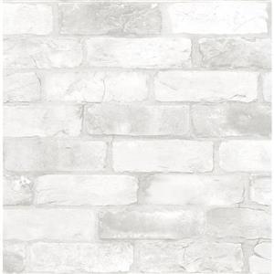 Papier peint à brique, blanc